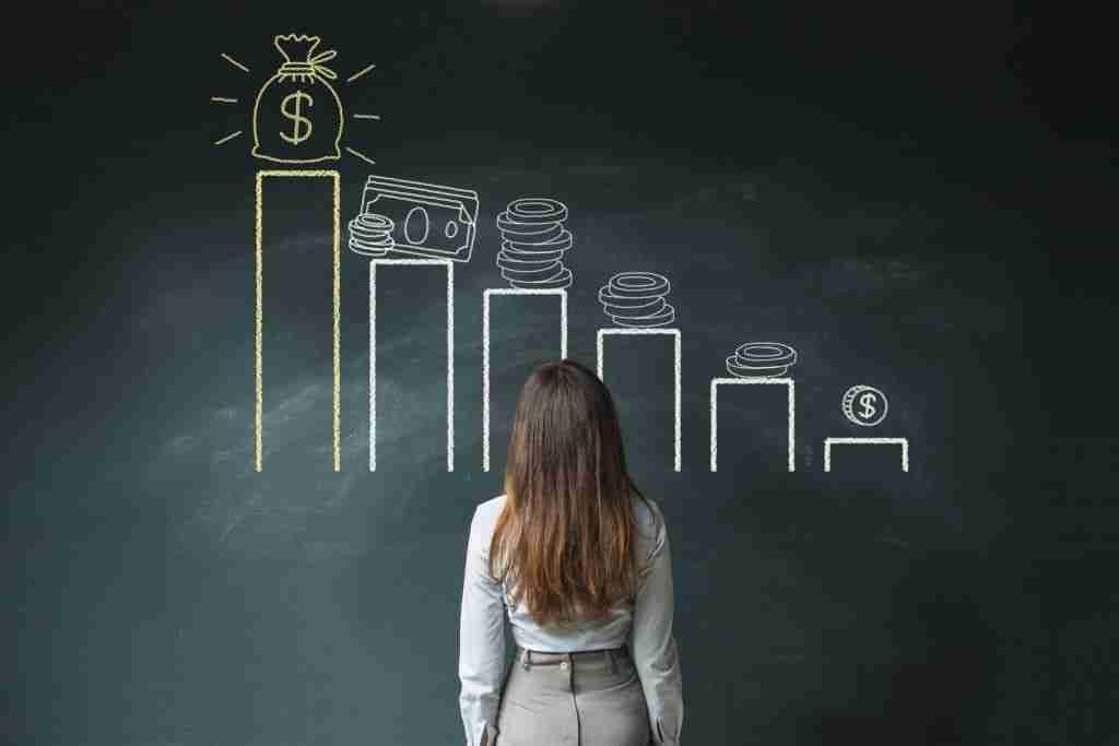Financial chart on chalkboard