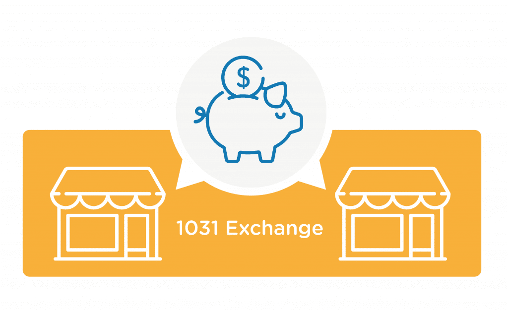 Graphic of a piggy bank and 1031 exchange