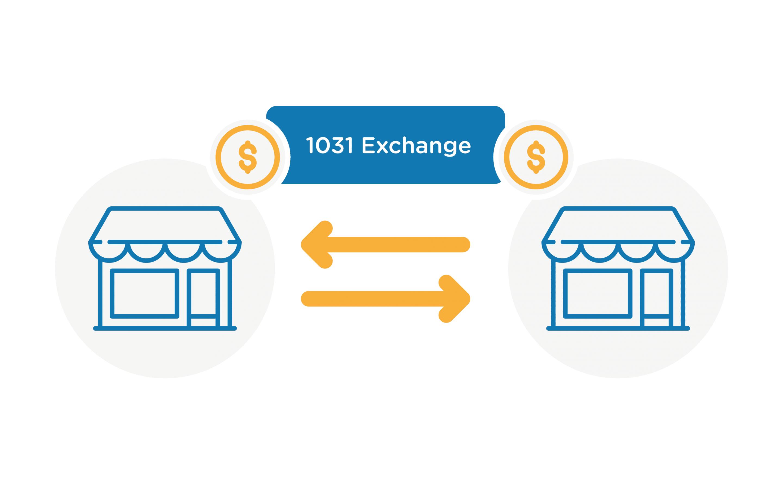 1031 exchange graphic with arrow between 2 buildings