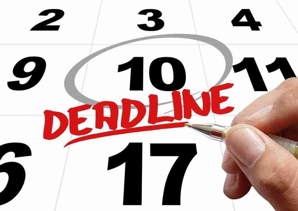 Calendar showing deadline date circled