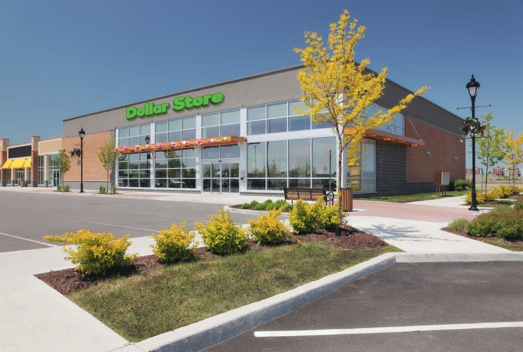 Dollar Store building with landscaping