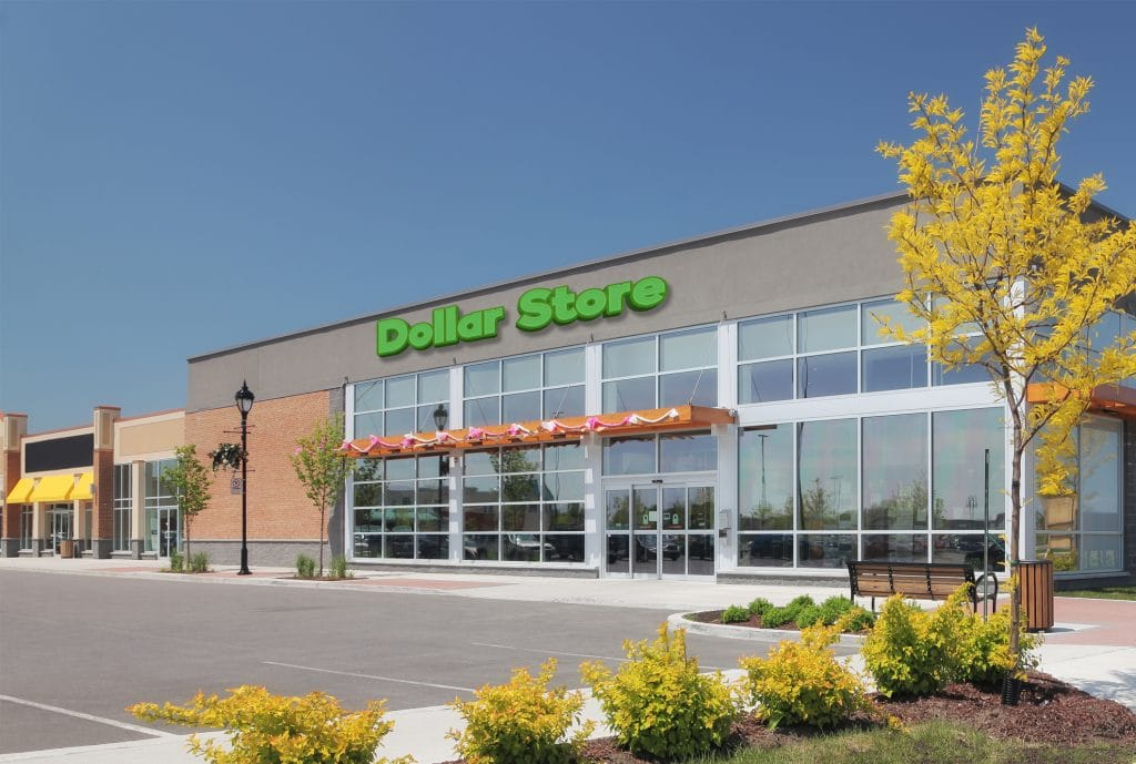 Dollar Store with shrubbery