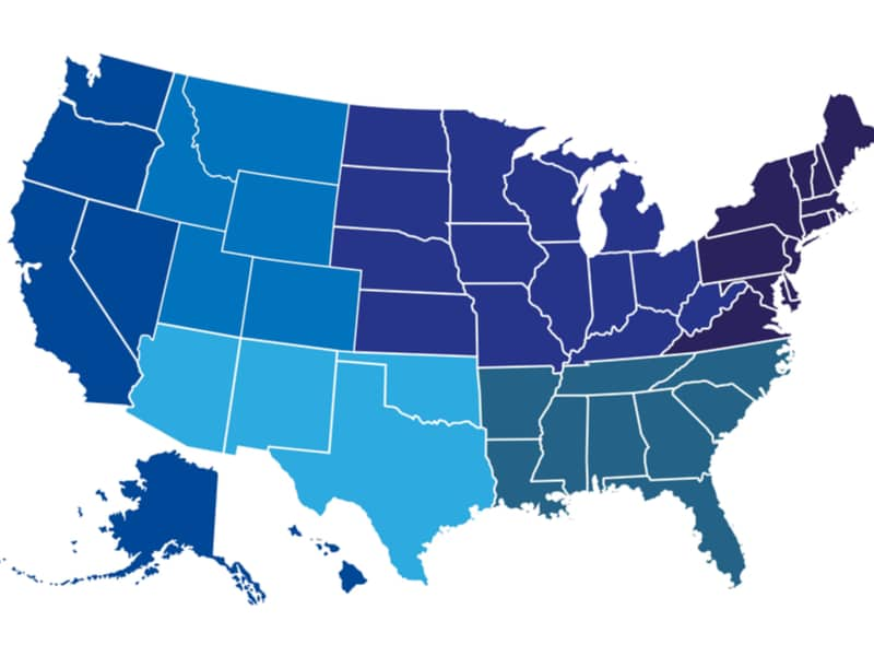 Map of the USA in shades of blue