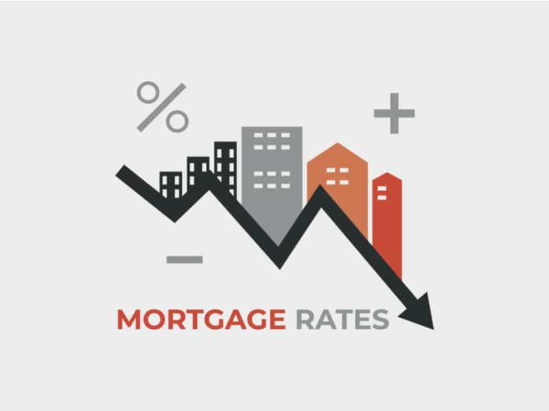 """Drawing of buildings with a downward arrow and a percent sign with words' Mortgage interest"""""""